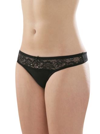 Comazo Unterwäsche, String für Damen in schwarz - Vorderansicht
