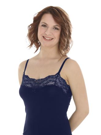 Comazo Lieblingswäsche, Unterhemd für Damen in nachtblau