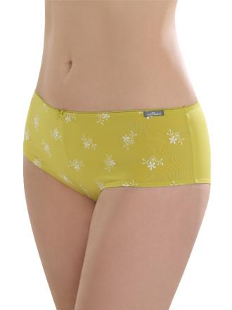 Comazo Unterwäsche, Panty mit Stickblümchen in pistazie - Vorderansicht