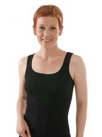 Comazo Biowäsche, Unterhemd für Damen in schwarz - Vorderansicht