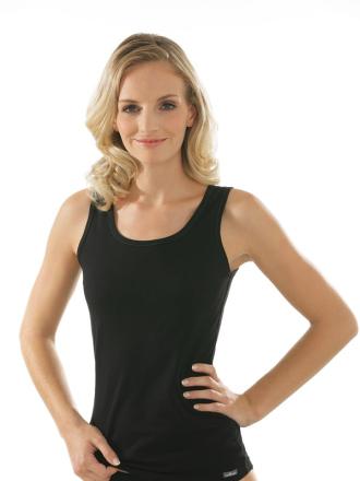 Comazo Unterwäsche, Unterhemd für Damen in schwarz - Vorderansicht