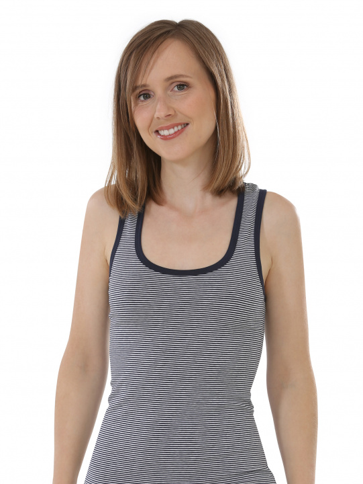 Comazo Biowäsche, Unterhemd Achselträger für Damen, marine geringelt - Vorderansicht