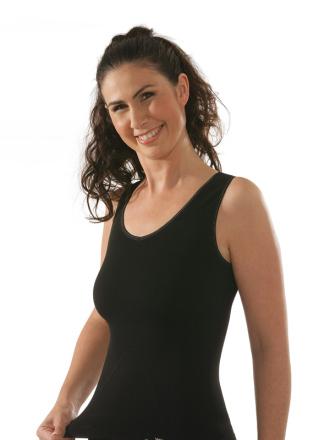 Comazo Funktionswäsche, Seamless Unterhemd für Damen in schwarz - Vorderansicht