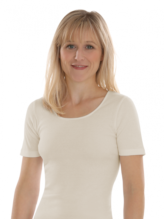 Comazo Biowäsche, kurzarm Shirt für Damen in bio-natur