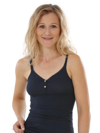 Comazo Biowäsche, Unterhemd für Damen in marine - Vorderansicht