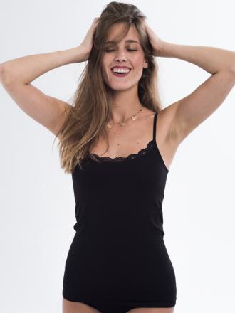 Comazo Lieblingswäsche Damen Unterwäsche Unterhemd in schwarz