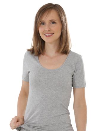 Comazo Biowäsche, Shirt für Damen in grau-melange - Vorderansicht