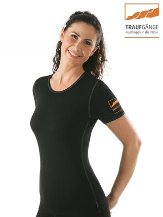 Comazo Funktionswäsche, Kurzarm Funktionsshirt für Damen schwarz - Vorderansicht