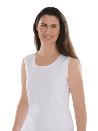 Comazo Lieblingswäsche, Basic Shirt für Damen ohne Arm in Baumwolle in weiss