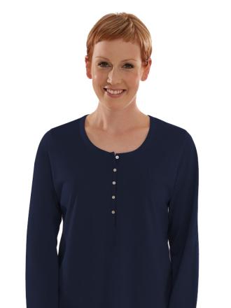 Comazo Biowäsche, Langarm Shirt für Damen in marine - Vorderansicht