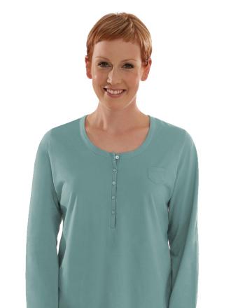 Comazo Biowäsche, Langarm Shirt für Damen in aqua - Vorderansicht