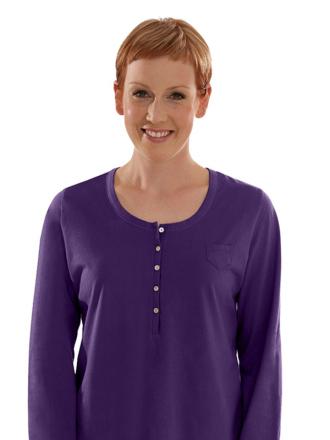 Comazo Biowäsche, Langarm Shirt für Damen in dark-violett - Vorderansicht