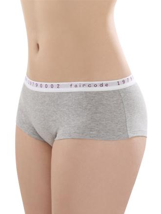 Comazo Biowäsche, Hot Pants low cut für Damen in grau-melange - Vorderansicht