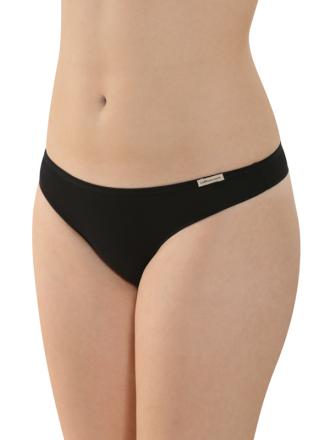 Comazo Biowäsche, String low cut für Damen in schwarz - Vorderansicht