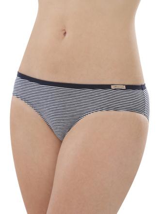 Comazo Biowäsche, Jazz-Pants low cut für Damen, marine geringelt - Vorderansicht