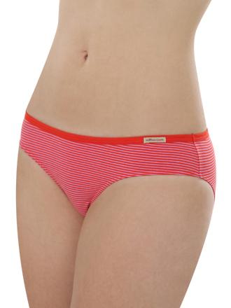 Comazo Biowäsche, Jazz-Pants low cut für Damen, tomate geringelt - Voderansicht