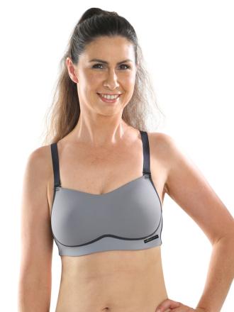 Comazo Funktionswäsche, Sport-BH für Damen in anthrazit-schwarz - Vorderansicht