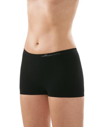 Comazo Funktionswäsche, Seamless Hot-Pants in schwarz - Vorderansicht