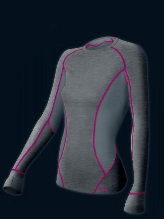 Comazo Funktionswäsche Damen Shirt langarm anthrazit-melange