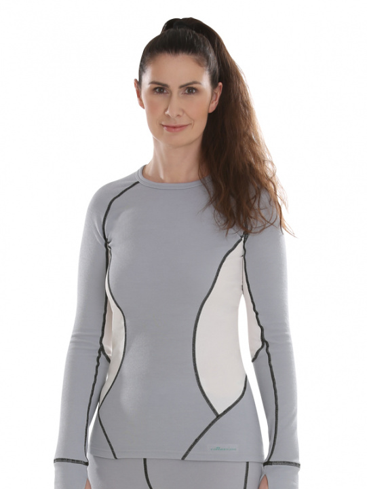 Comazo Funktionswäsche, Langarm Shirt für Damen in silver/offwhite - Vorderansicht