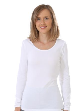 Comazo Biowäsche, Langarm Shirt für Damen in weiss - Vorderansicht