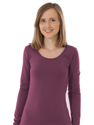 Comazo Biowäsche, Langarm Shirt für Damen in brombeer - Vorderansicht