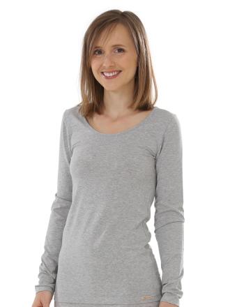 Comazo Biowäsche, langarm Shirt für Damen in grau-melange - Vorderansicht