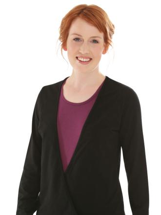 Comazo Biowäsche, Shirt in Wickeloptik für Damen in schwarz - Vorderansicht
