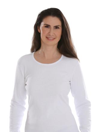 Comazo Lieblingswäsche, Basic Shirt für Damen langarm in Baumwolle in weiss