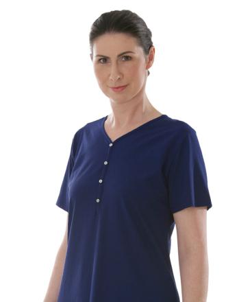 Comazo Biowäsche, Nachthemd für Damen in nachtblau- Vorderansicht