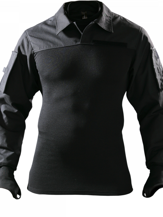 Combatshirt mit Kragen schwarz Vorderseite