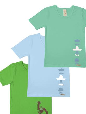 Comazo Biowäsche, Shirts für Jungen im 3-er Pack in iceblue, green und grass
