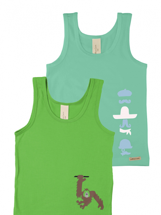 Comazo Biowäsche, Unterhemd für Jungen im 2-er Pack in green und grass