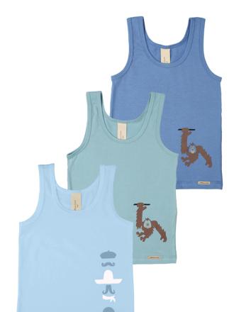 Comazo Biowäsche, Unterhemd für Jungen im 3-er Pack in türkis, eisblau, iceblue
