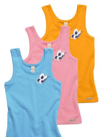 Comazo Biowäsche, Unterhemd für Mädchen im 3-er Pack türkis, anemone, orange