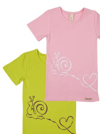 Comazo Biowäsche, Shirts für Kinder im 2-er Pack in kiwi und lollipop