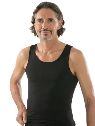 comazo|black Unterwäsche, Unterhemd in schwarz - Vorderansicht