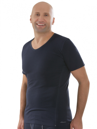Comazo Biowäsche,Shirt mit V-Ausschnitt in navy - Vorderansicht