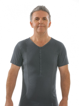 Comazo Biowäsche, Kurzarm Shirt in anthrazit - Vorderansicht