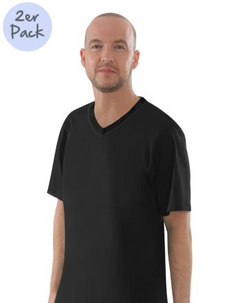 Comazo Lieblingswäsche Herren Shirts V-Ausschnitt in schwarz