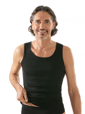 Comazo Unterwäsche, Shirt ohne Arm in schwarz - Vorderansicht