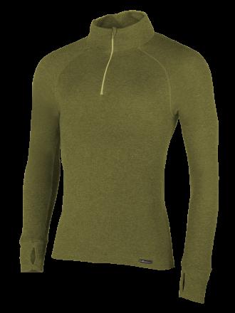 Comazo Funktionswäsche, Shirt langarm, Rolli für Herren in oliv - Vorderansicht
