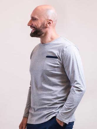 Comazo Lieblingswäsche Herren langarm Shirt in grau-melange