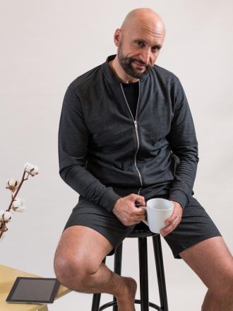 Comazo Lieblingswäsche Herren Homewear Jacke mit Kragen in anthrazit-melange