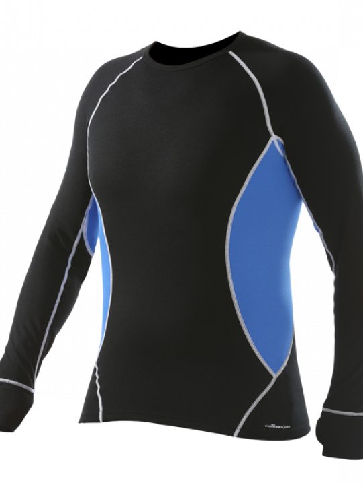 Comazo Funktionswäsche, Langarm Shirt für Herren in schwarz/strongblue  - Vorderansicht