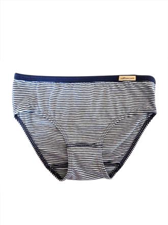 Comazo Biowäsche, Slip für Mädchen, marine geringelt - Vorderansicht