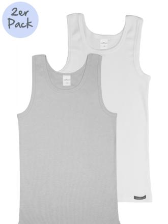 Comazo Lieblingswäsche Kinder Unterhemd grau und weiß