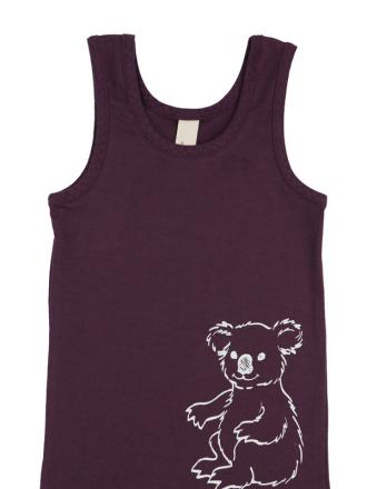 comazo Biowäsche, Kurzarm Shirt für Mädchen in pflaume - Vorderansicht