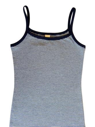Comazo Biowäsche, Spaghettiträger-Hemd für Mädchen, marine geringelt - Vorderansicht