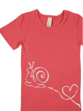 comazo Biowäsche, Kurzarm Shirt für Mädchen in hummer - Vorderansicht